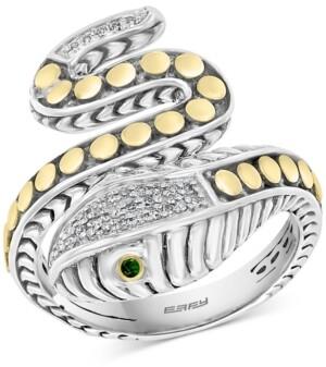 Effy Diamond (1/10 ct. t.w.) & Tsavorite Accent Snake Ring in Sterling Silver & 18k Gold-Plate