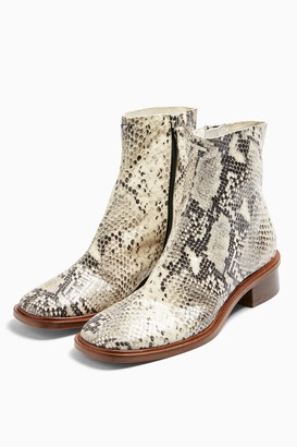 Topshop Womens Arrow Leather Snake Flat Leather Boots - Multi