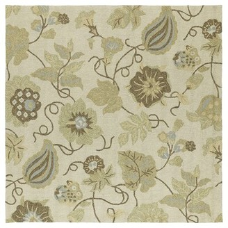 "Glenn Charlton Home Garden Harbour Linen Floral Indoor/Outdoor Area Rug Charlton Home Rug Size: Square 5'9"""
