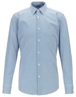 BOSS Slim-fit shirt in two-tone-patterned Italian cotton