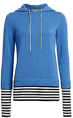 Michael Kors Women's Layered Cashmere Pullover Hoodie