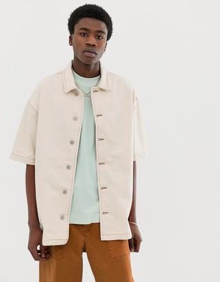 ASOS boxy denim shirt in ecru