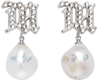 Misbhv Silver and Off-White Pearl Crystal Earrings
