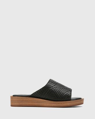 Wittner - Women's Black Flat Sandals - Edalene Leather Platform Slides - Size One Size, 35 at The Iconic
