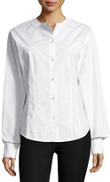 Joseph Asher Fitted Button-Down Poplin Shirt, White