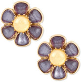 Betsey Johnson Gold-Tone Purple and Yellow Stone Flower Clip-On Stud Earrings