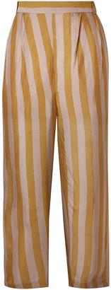 Mes Demoiselles Havas Cropped Striped Silk-satin Crepe Straight-leg Pants