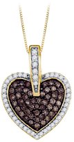 KATARINA Cognac and White Diamond Fashion Pendant with Chain in 10K Yellow Gold (1/2 cttw)