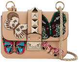 Valentino Tan Leather Butterfly Embellished shoulder bag
