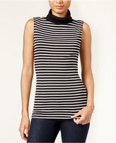 Maison Jules Sleeveless Striped Turtleneck, Only at Macy's