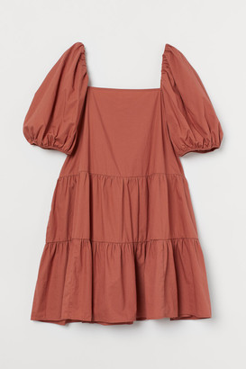 H&M Puff-sleeved Dress - Orange