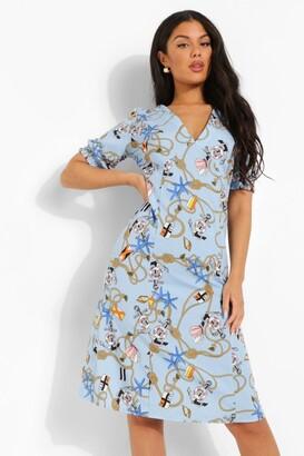 boohoo Nautical Print V Neck Midi Dress
