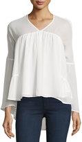 Hazel Long-Sleeve V-Neck Tiered Blouse, White