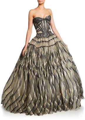 Zac Posen Glitter Wave Tulle Strapless Ball Gown