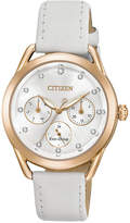Citizen Drive from Eco-Drive Women's Chronograph White Leather Strap Watch 38mm