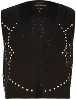 River Island Womens Black embellished cropped vest