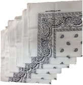 Best 6 Color Pack Paisley Bandana Scarf, Head Wraps WHITE