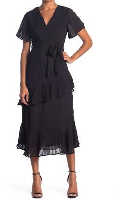 Hyfve Ruffle Trim Tie Waist Midi Dress