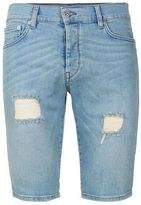 Topman Light Wash Blue Ripped Stretch Skinny Denim Shorts