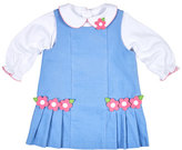 Florence Eiseman Floral Pleated Corduroy Jumper w/ Collared Blouse, Blue, Size 6-24 Months