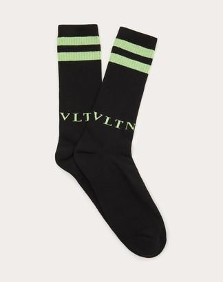 Valentino Garavani Uomo Vltn Socks Man Black/neon Green Cotton 88%, Elastane 4% L/XL