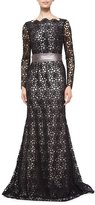 Escada Long-Sleeve Lace Gown, Black