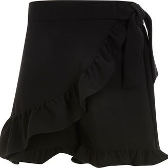 River Island Girls Black wrap frill skort
