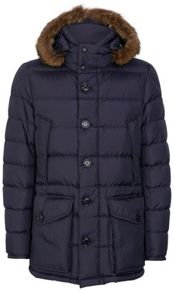 Moncler Cluny Coyote Trim Hooded Coat