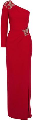 Marchesa One-shoulder Embellished Stretch-cady Gown