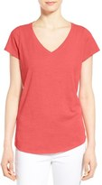 Eileen Fisher Organic Cotton V-Neck Short Sleeve Tee (Regular & Petite)