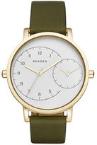 Skagen Polished Stainless Steel Dual Time Leather-Strap Watch