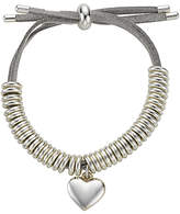 John Lewis Heart Charm Bangle, Silver/Grey