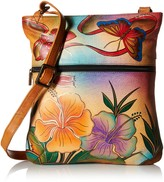 Anuschka Anna By Anna Slim Crossbody Bag | Genuine Leather | Antique Hibiscus