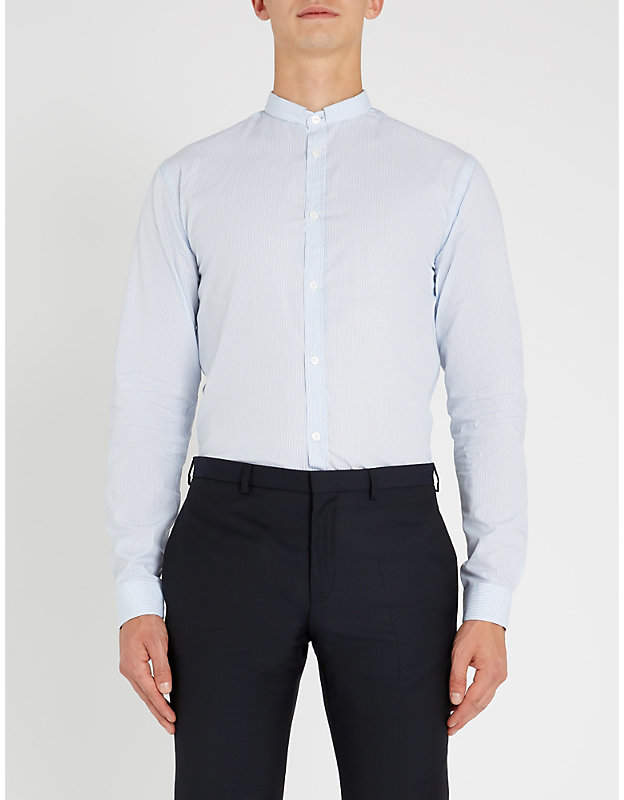 The Kooples Mandarin-collar striped regular-fit cotton shirt