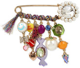 Betsey Johnson Gold-Tone Multi-Charm Safety Pin Brooch