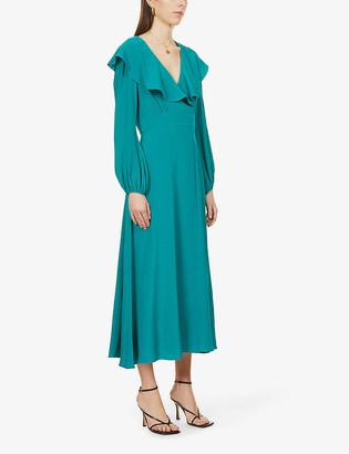 Diane von Furstenberg Bella puffed-sleeve silk-crepe midi dress
