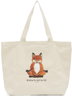 MAISON KITSUNÉ Off-White Yoga Lotus Fox Tote