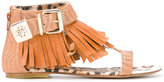 Roberto Cavalli Teen fringed sandals - kids - Leather/Pig Leather/rubber - 37