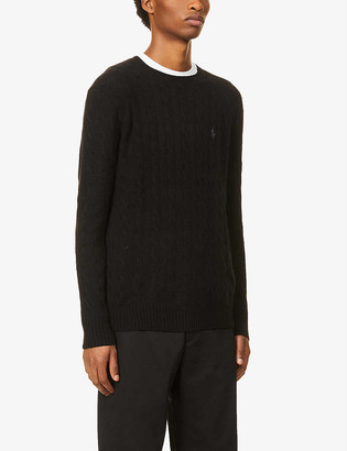 Polo Ralph Lauren Logo-embroidered cable-knit wool and cashmere-blend jumper