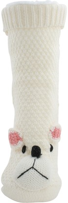 Foxbury Ladies Fleece Lined Knitted Polar Bear Slipper Socks Cream