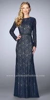 La Femme Lace Long Sleeve Beaded Evening Dress