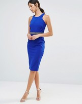 Little Mistress Bodycon Dress With Embellished Waistline