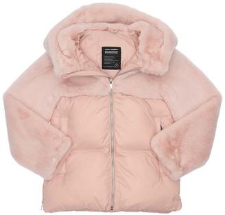 Bomboogie Hooded Faux Fur & Nylon Puffer Jacket