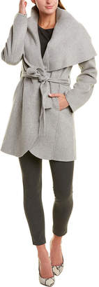 Tahari Belted Wool-Blend Wrap Coat