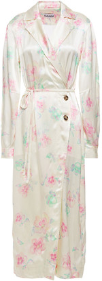 Ganni Belted Floral-print Satin Midi Wrap Dress