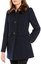Kate Spade A-Line Faux-Fur Collar Short Wool Coat