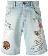 Just Cavalli patch embellished denim shorts - men - Cotton/Polyester/Aluminium - 30