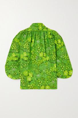 Balenciaga Floral-print Crepe Blouse - Green