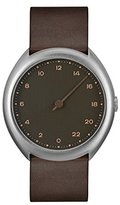 Slow O 08 - Dark Brown Vintage Leather Silver Case Anthracite Dial Unisex Quartz Watch with Grey Dial Analogue Display and Dark Brown Leather Strap
