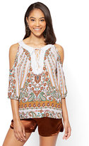 New York & Co. Lace-Up Cold Shoulder Blouse - Paisley - Tall